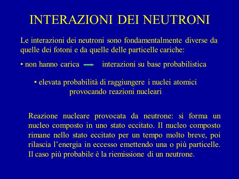 INTERAZIONI DEI NEUTRONI Le interazioni dei neutroni sono fondamentalmente diverse da quelle dei fotoni e da quelle delle particelle cariche: non hanno carica interazioni su base probabilistica elevata probabilità di raggiungere i nuclei atomici provocando reazioni nucleari Reazione nucleare provocata da neutrone: si forma un nucleo composto in uno stato eccitato.