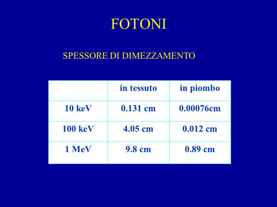FOTONI in tessutoin piombo 10 keV0.131 cm0.00076cm 100 keV4.05 cm0.012 cm 1 MeV9.8 cm0.89 cm SPESSORE DI DIMEZZAMENTO