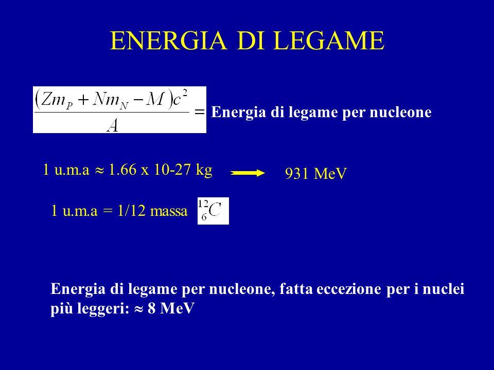 ENERGIA DI LEGAME Energia di legame per nucleone 1 u.m.a  1.66 x 10-27 kg 931 MeV 1 u.m.a = 1/12 massa Energia di legame per nucleone, fatta eccezione per i nuclei più leggeri:  8 MeV