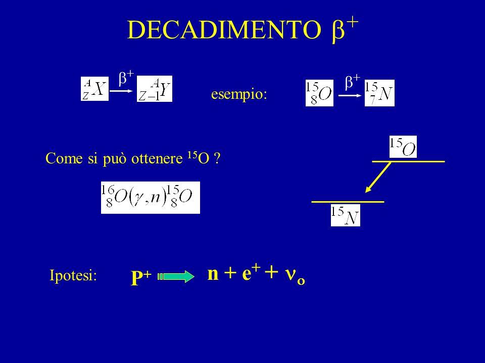 DECADIMENTO  + esempio: ++ ++ Come si può ottenere 15 O ? P+P+ n + e + +  Ipotesi: