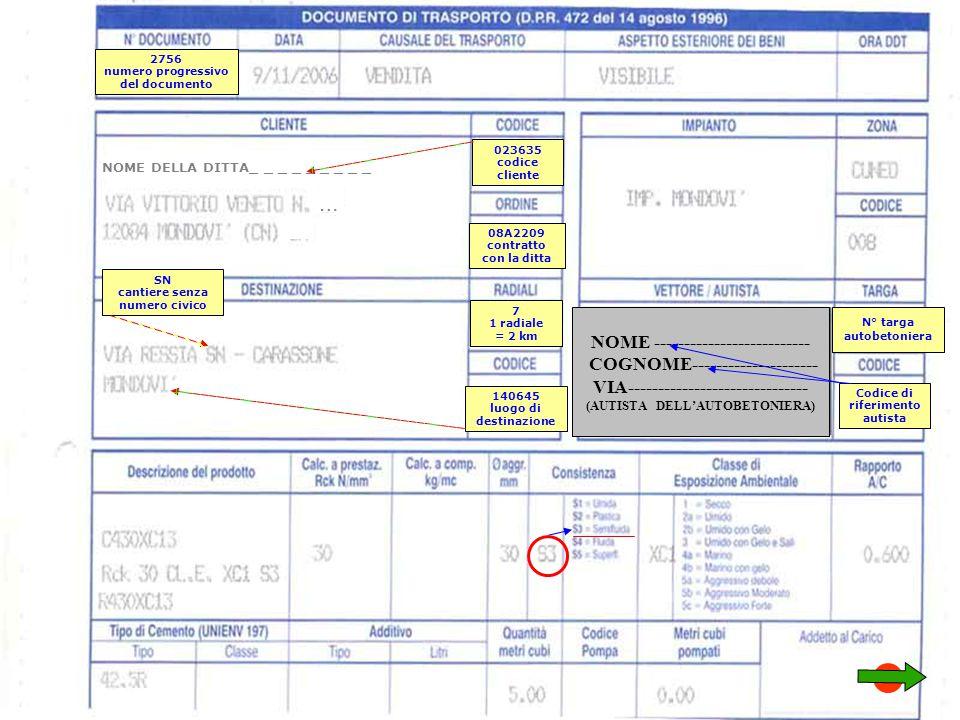 023635 codice cliente 7 1 radiale = 2 km 2756 numero progressivo del documento 140645 luogo di destinazione SN cantiere senza numero civico N° targa autobetoniera NOME -------------------------- COGNOME--------------------- VIA------------------------------ (AUTISTA DELL'AUTOBETONIERA) Codice di riferimento autista NOME DELLA DITTA_ _ _ _ _ _ _ _ _ … 08A2209 contratto con la ditta