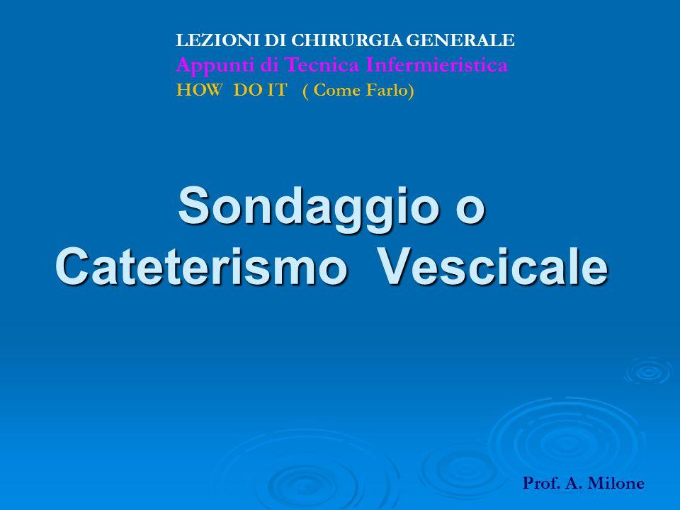 Sondaggio o Cateterismo Vescicale LEZIONI DI CHIRURGIA GENERALE Appunti di Tecnica Infermieristica HOW DO IT ( Come Farlo) Prof. A. Milone