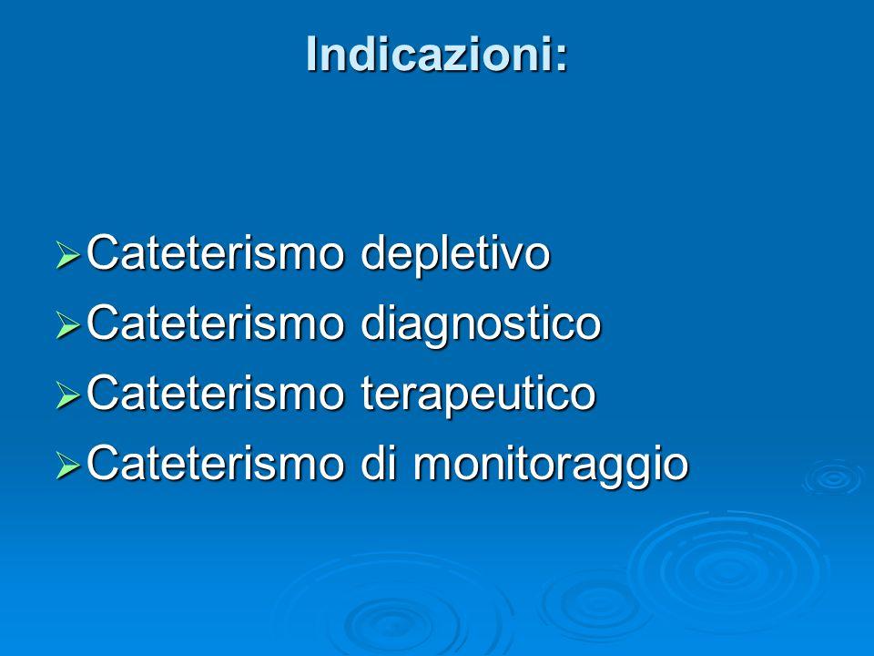 Indicazioni:  Cateterismo depletivo  Cateterismo diagnostico  Cateterismo terapeutico  Cateterismo di monitoraggio