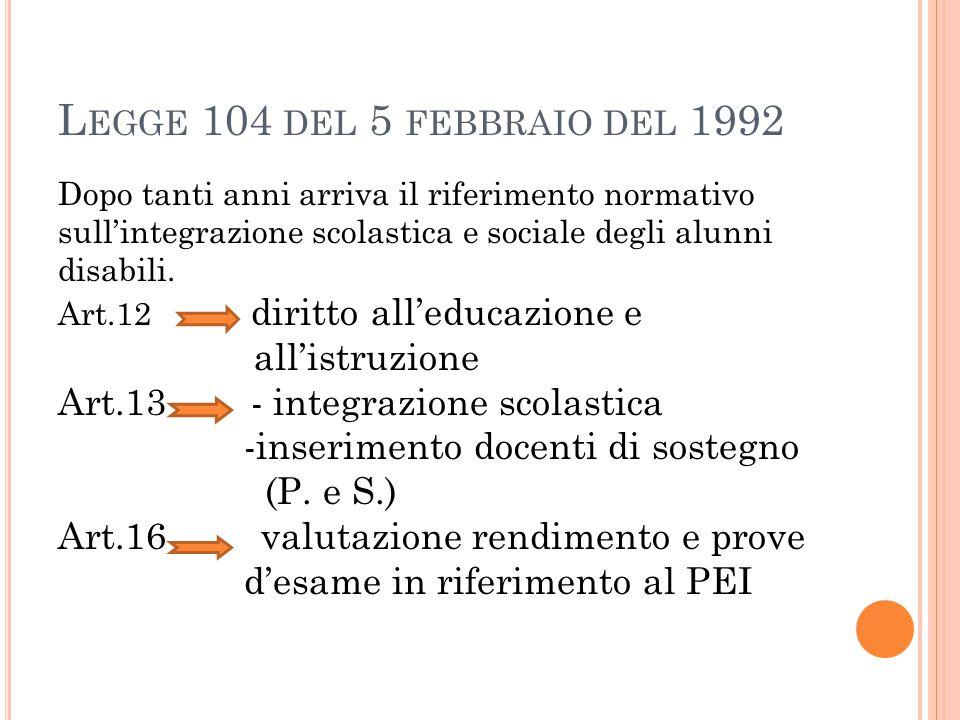 L INEE EVOLUTIVE 1.Esclusione/inserimento 2.Inserimento/integrazione 3.Integrazione/inclusione Tappe contrassegnate da riferimenti storici e normativi da non dimenticare…