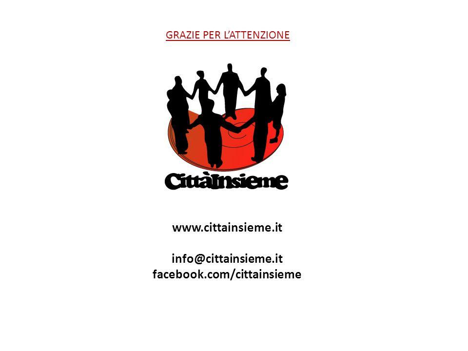 www.cittainsieme.it info@cittainsieme.it facebook.com/cittainsieme GRAZIE PER L'ATTENZIONE
