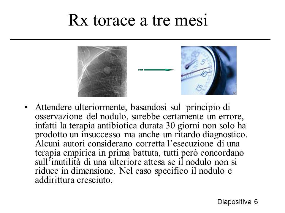 Rx torace a tre mesi Attendere ulteriormente, basandosi sul principio di osservazione del nodulo, sarebbe certamente un errore, infatti la terapia ant