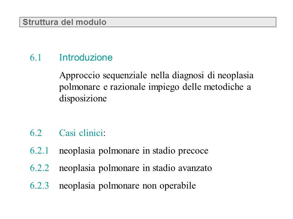 Struttura del modulo 6.2 Casi clinici: 6.2.1 neoplasia polmonare in stadio precoce 6.2.2 neoplasia polmonare in stadio avanzato 6.2.3 neoplasia polmon