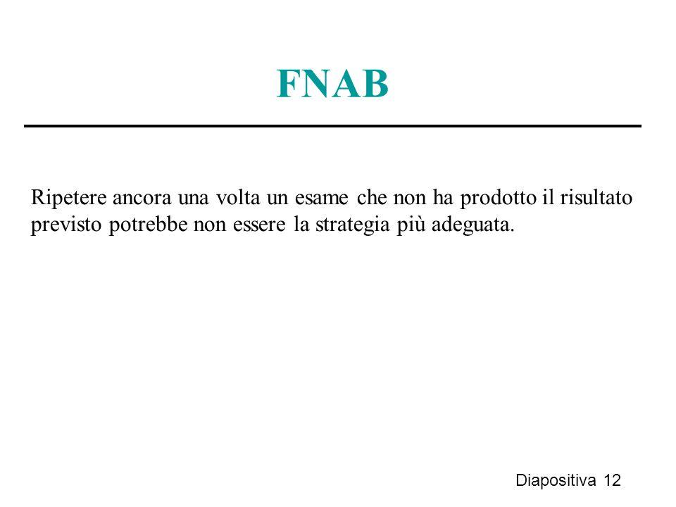 Diapositiva 12 FNAB Ripetere ancora una volta un esame che non ha prodotto il risultato previsto potrebbe non essere la strategia più adeguata.