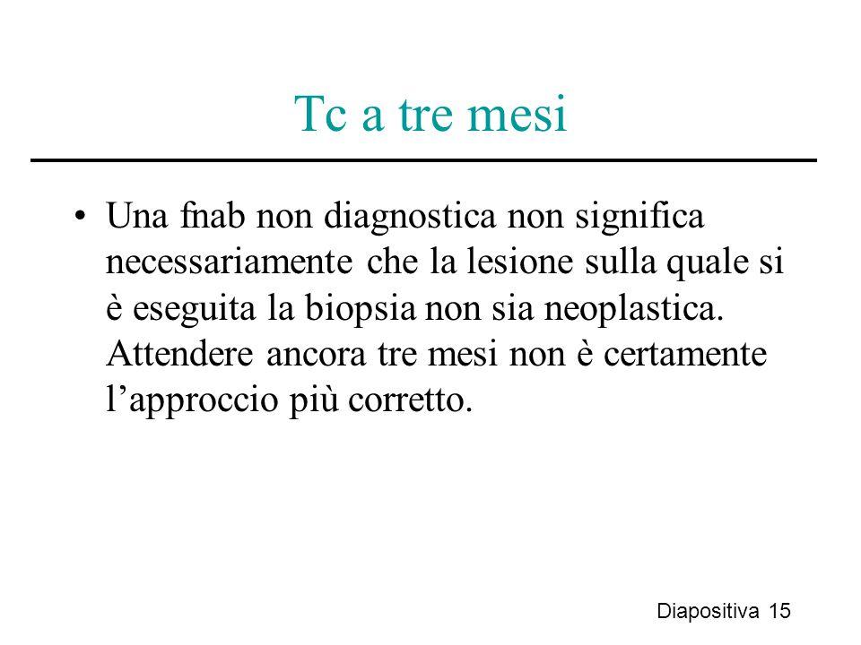 Tc a tre mesi Una fnab non diagnostica non significa necessariamente che la lesione sulla quale si è eseguita la biopsia non sia neoplastica. Attender