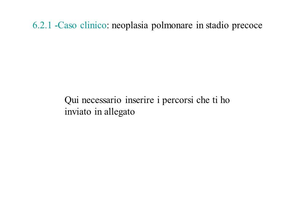 6.2.1 -Caso clinico: neoplasia polmonare in stadio precoce Qui necessario inserire i percorsi che ti ho inviato in allegato