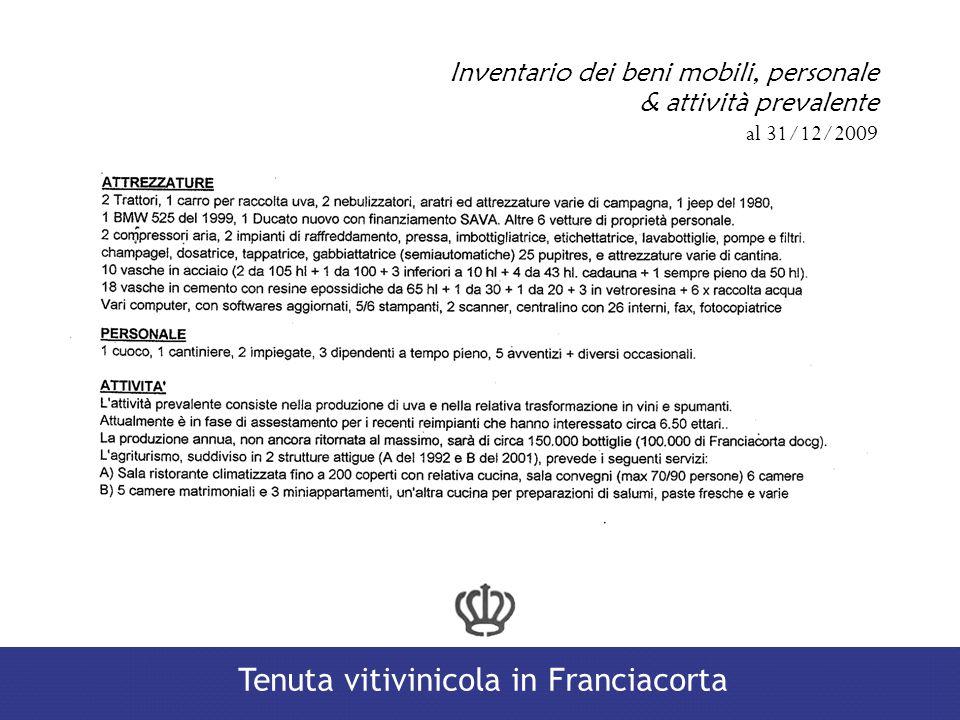 Inventario dei beni mobili, personale & attività prevalente al 31/12/2009 Tenuta vitivinicola in Franciacorta
