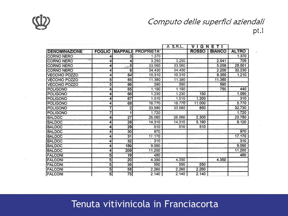 Computo delle superfici aziendali pt.I Tenuta vitivinicola in Franciacorta