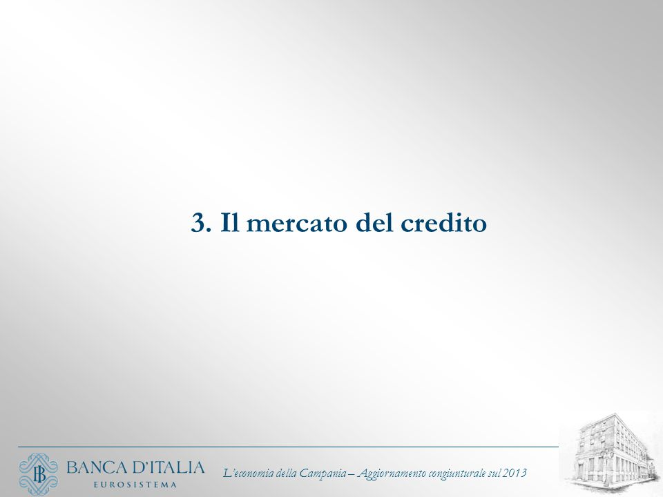 3. Il mercato del credito L'economia della Campania – Aggiornamento congiunturale sul 2013