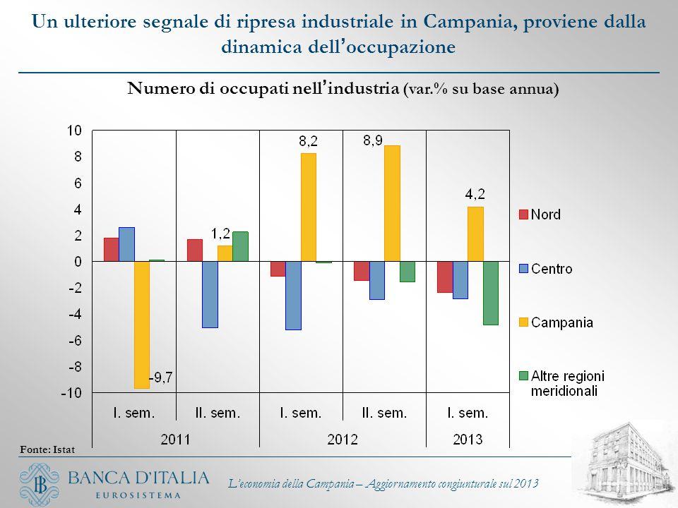 Un ulteriore segnale di ripresa industriale in Campania, proviene dalla dinamica dell ' occupazione L'economia della Campania – Aggiornamento congiunt
