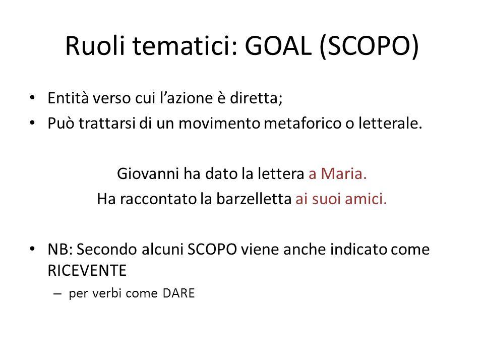 Ruoli tematici: GOAL (SCOPO) Entità verso cui l'azione è diretta; Può trattarsi di un movimento metaforico o letterale. Giovanni ha dato la lettera a