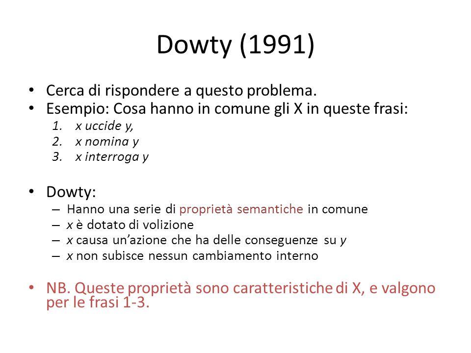 Dowty (1991) Cerca di rispondere a questo problema. Esempio: Cosa hanno in comune gli X in queste frasi: 1.x uccide y, 2.x nomina y 3.x interroga y Do