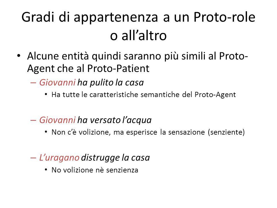 Gradi di appartenenza a un Proto-role o all'altro Alcune entità quindi saranno più simili al Proto- Agent che al Proto-Patient – Giovanni ha pulito la