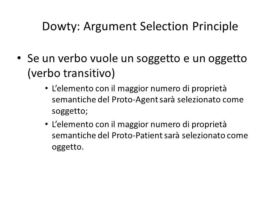 Dowty: Argument Selection Principle Se un verbo vuole un soggetto e un oggetto (verbo transitivo) L'elemento con il maggior numero di proprietà semantiche del Proto-Agent sarà selezionato come soggetto; L'elemento con il maggior numero di proprietà semantiche del Proto-Patient sarà selezionato come oggetto.