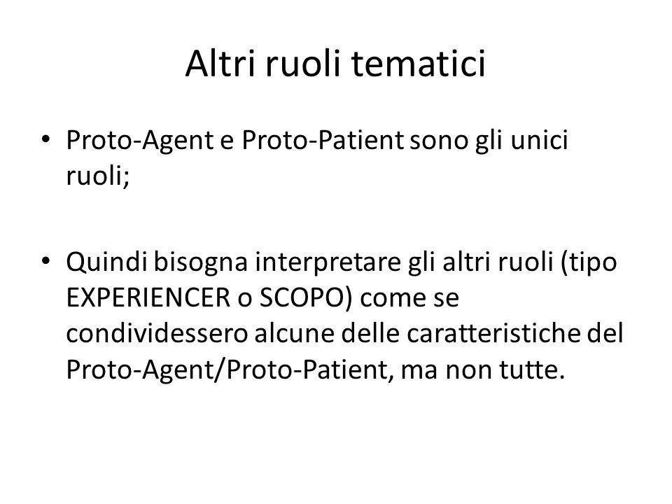 Altri ruoli tematici Proto-Agent e Proto-Patient sono gli unici ruoli; Quindi bisogna interpretare gli altri ruoli (tipo EXPERIENCER o SCOPO) come se condividessero alcune delle caratteristiche del Proto-Agent/Proto-Patient, ma non tutte.