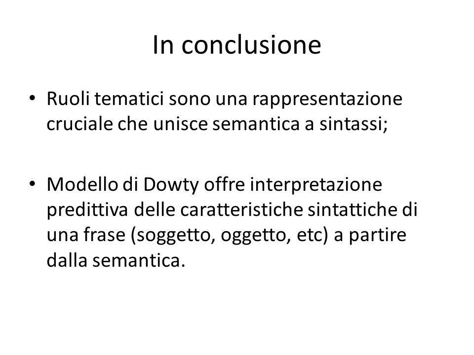 In conclusione Ruoli tematici sono una rappresentazione cruciale che unisce semantica a sintassi; Modello di Dowty offre interpretazione predittiva delle caratteristiche sintattiche di una frase (soggetto, oggetto, etc) a partire dalla semantica.
