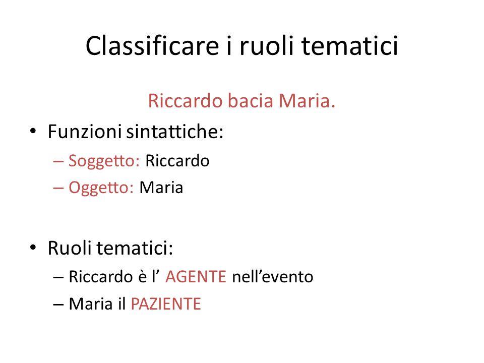 Classificare i ruoli tematici Riccardo bacia Maria. Funzioni sintattiche: – Soggetto: Riccardo – Oggetto: Maria Ruoli tematici: – Riccardo è l' AGENTE