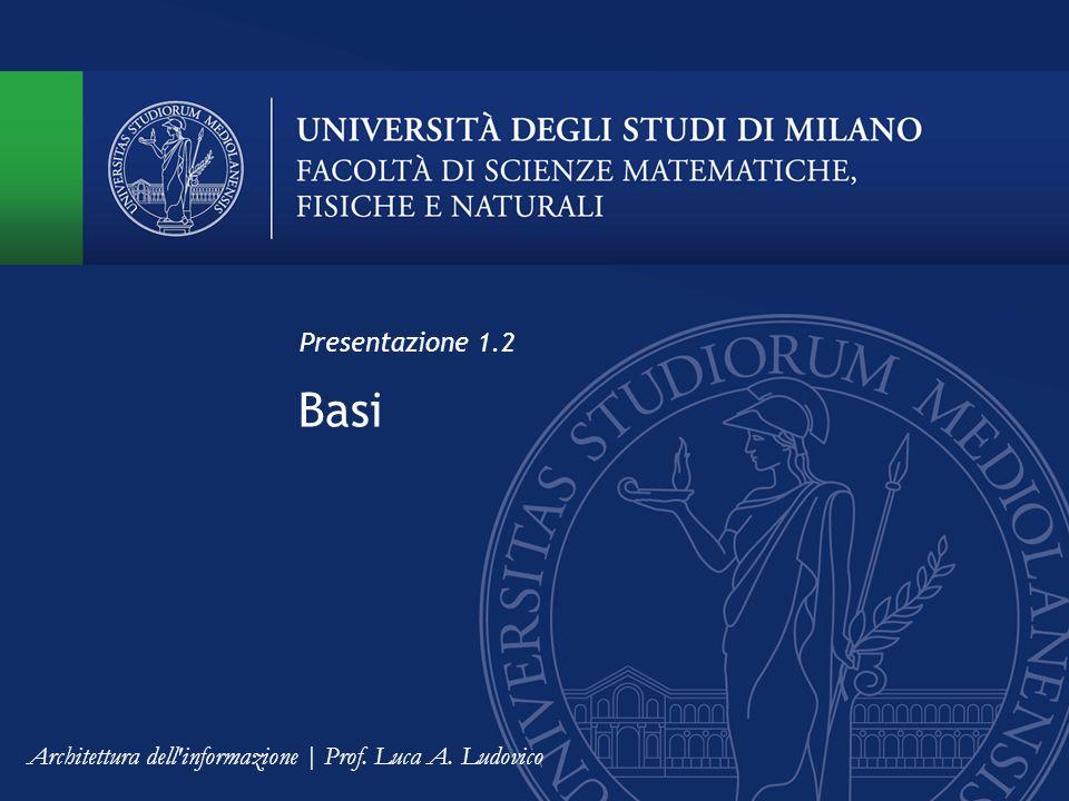 Basi Presentazione 1.2 Architettura dell informazione | Prof. Luca A. Ludovico