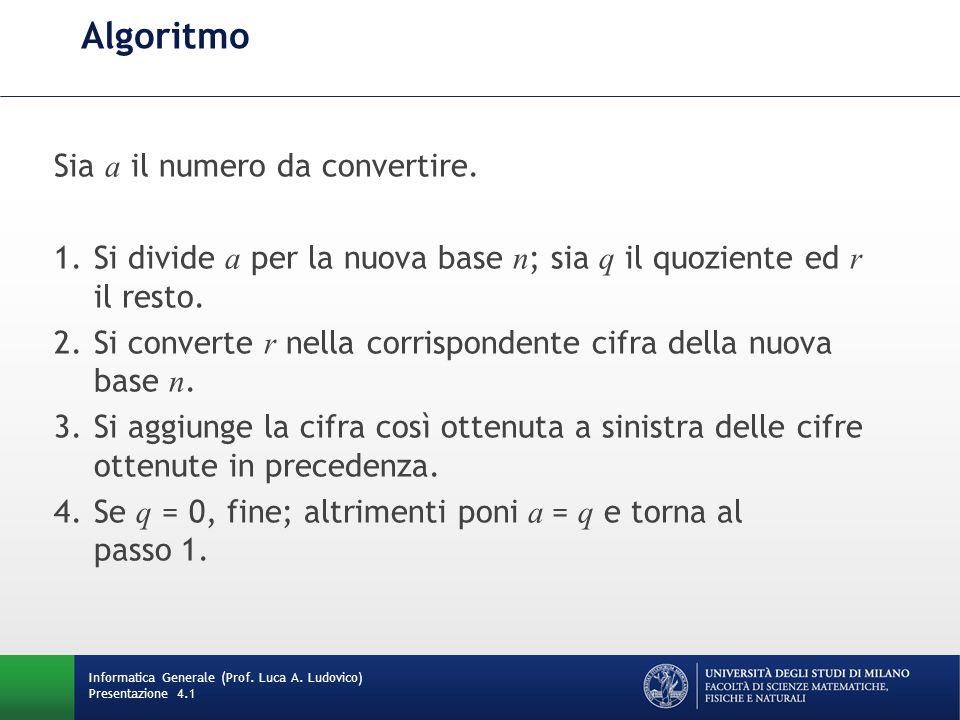 Algoritmo Sia a il numero da convertire.