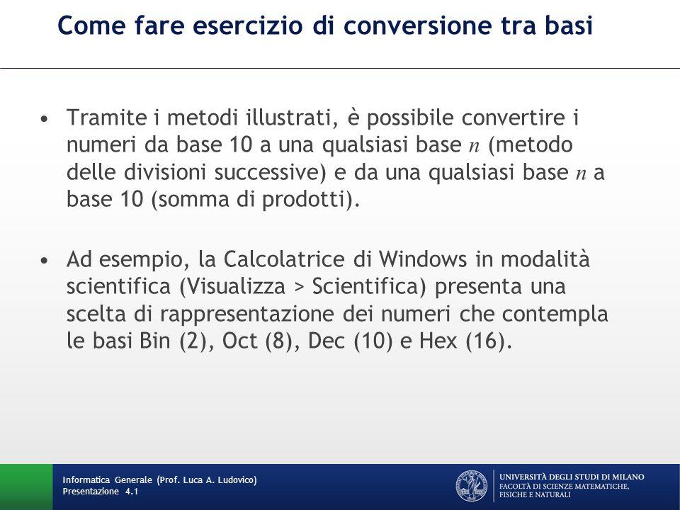 Come fare esercizio di conversione tra basi Tramite i metodi illustrati, è possibile convertire i numeri da base 10 a una qualsiasi base n (metodo delle divisioni successive) e da una qualsiasi base n a base 10 (somma di prodotti).