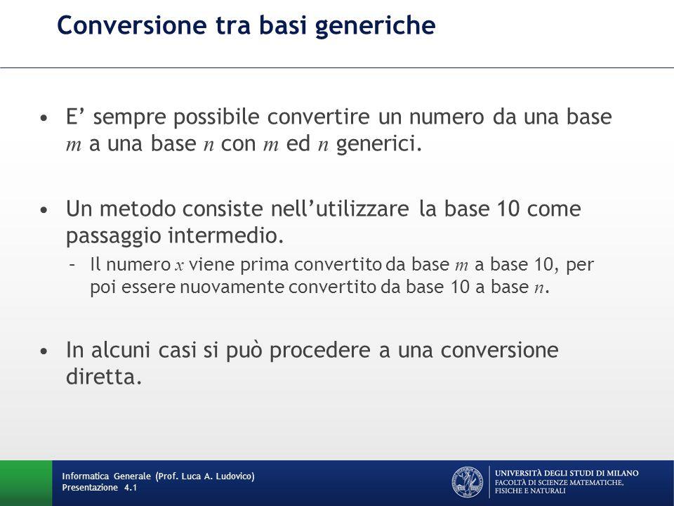 Conversione tra basi generiche E' sempre possibile convertire un numero da una base m a una base n con m ed n generici. Un metodo consiste nell'utiliz