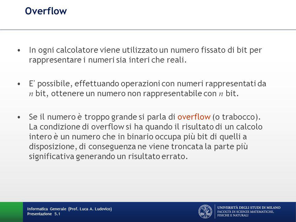 Overflow In ogni calcolatore viene utilizzato un numero fissato di bit per rappresentare i numeri sia interi che reali. E' possibile, effettuando oper