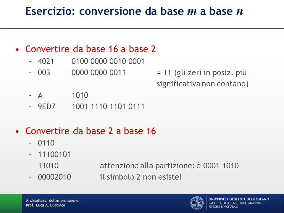 Esercizio: conversione da base m a base n Convertire da base 16 a base 2 –40210100 0000 0010 0001 –0030000 0000 0011= 11 (gli zeri in posiz. più signi