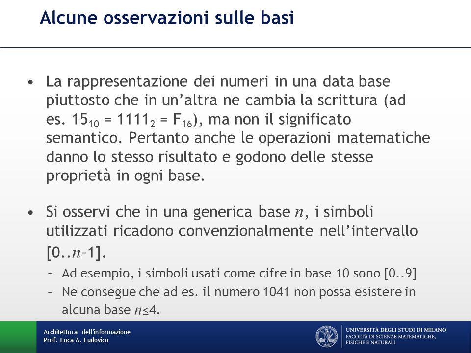 Alcune osservazioni sulle basi La rappresentazione dei numeri in una data base piuttosto che in un'altra ne cambia la scrittura (ad es. 15 10 = 1111 2