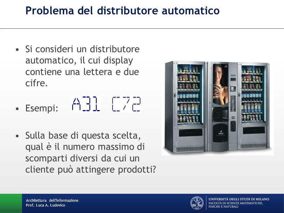 Problema del distributore automatico Si consideri un distributore automatico, il cui display contiene una lettera e due cifre.