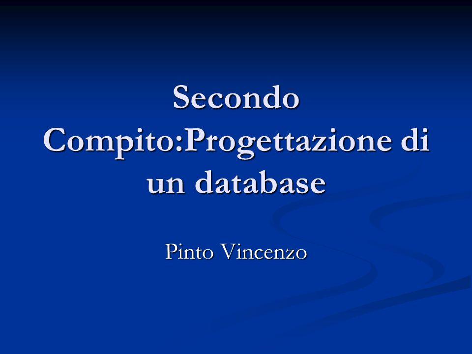 Secondo Compito:Progettazione di un database Pinto Vincenzo