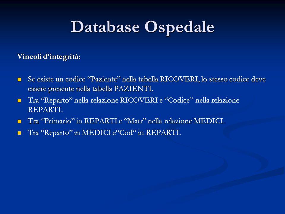 Database Ospedale Vincoli d'integrità: Se esiste un codice Paziente nella tabella RICOVERI, lo stesso codice deve essere presente nella tabella PAZIENTI.