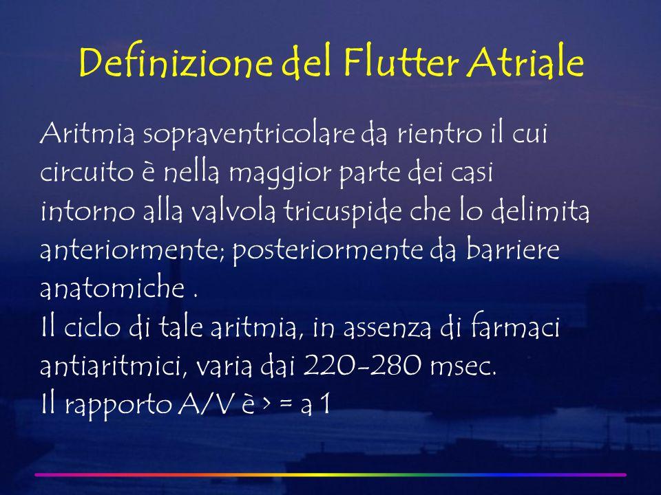 Definizione del Flutter Atriale Aritmia sopraventricolare da rientro il cui circuito è nella maggior parte dei casi intorno alla valvola tricuspide che lo delimita anteriormente; posteriormente da barriere anatomiche.
