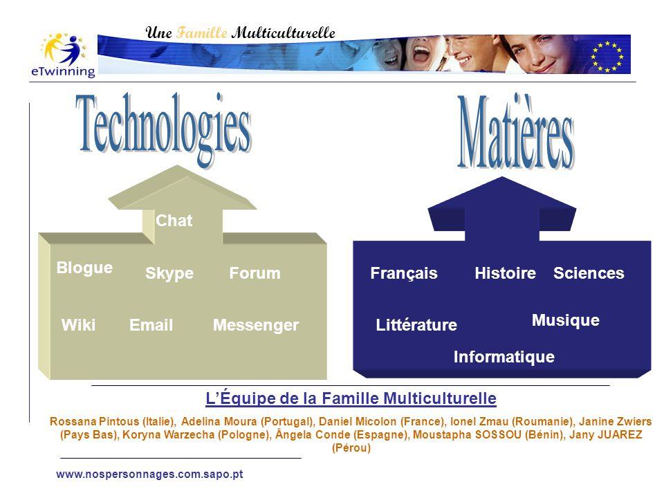 Blogue Chat Forum WikiEmail Skype Messenger FrançaisHistoire Littérature Musique Une Famille Multiculturelle Sciences Informatique L'Équipe de la Fami
