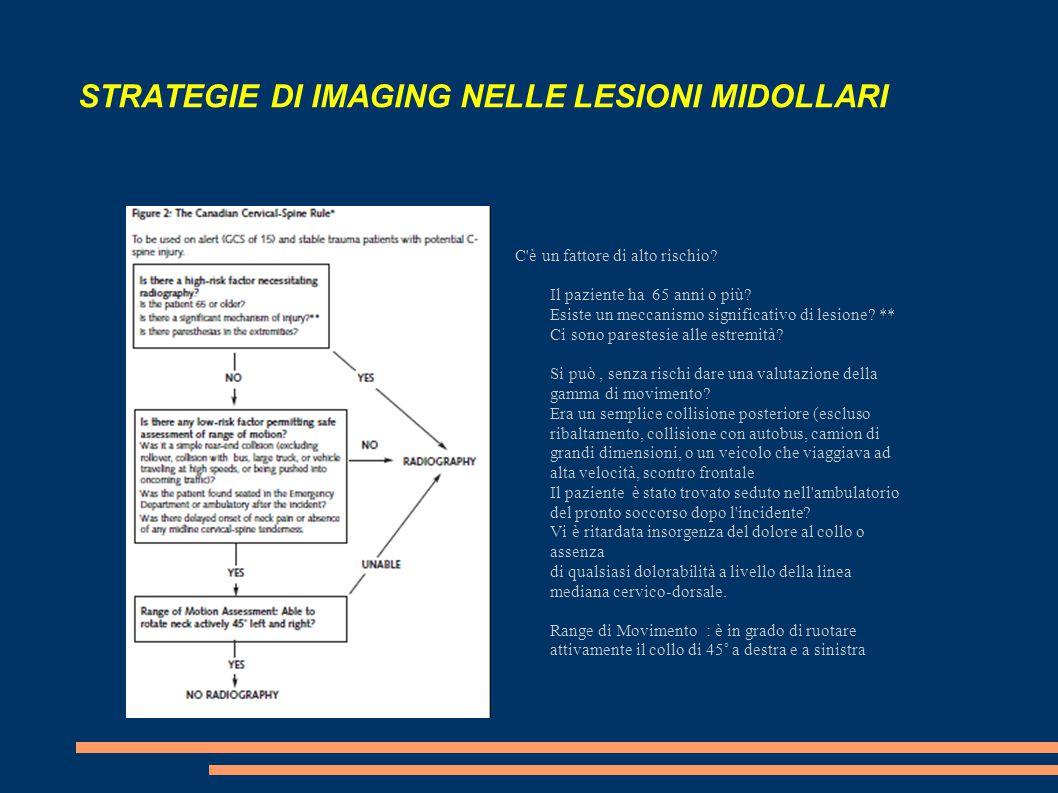 STRATEGIE DI IMAGING NELLE LESIONI MIDOLLARI C'è un fattore di alto rischio? Il paziente ha 65 anni o più? Esiste un meccanismo significativo di lesio
