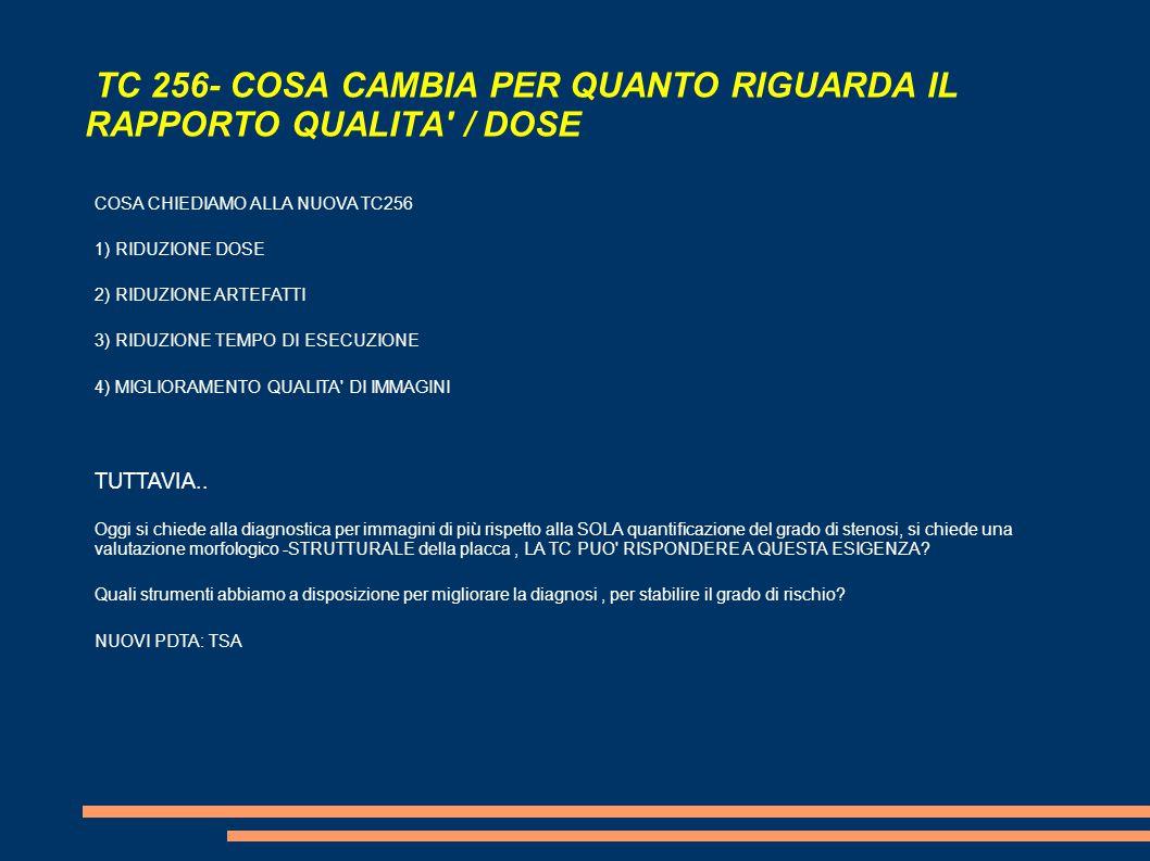 TC 256- COSA CAMBIA PER QUANTO RIGUARDA IL RAPPORTO QUALITA / DOSE COSA CHIEDIAMO ALLA NUOVA TC256 1) RIDUZIONE DOSE 2) RIDUZIONE ARTEFATTI 3) RIDUZIONE TEMPO DI ESECUZIONE 4) MIGLIORAMENTO QUALITA DI IMMAGINI TUTTAVIA..