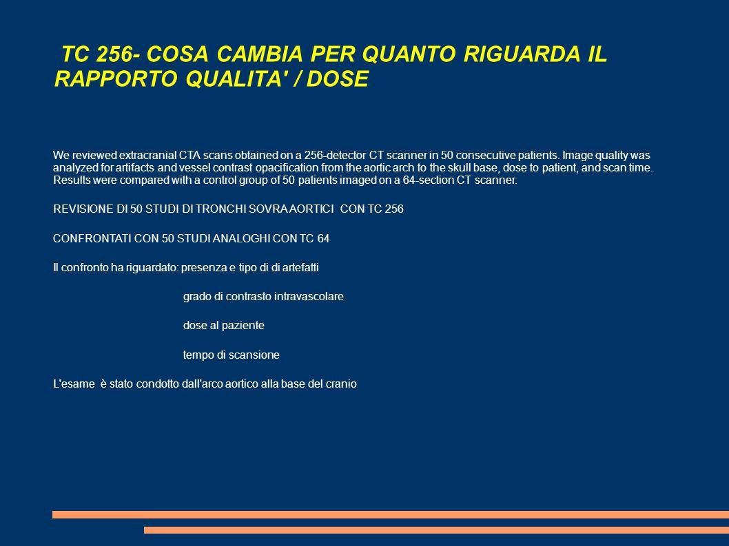TC 256- COSA CAMBIA PER QUANTO RIGUARDA IL RAPPORTO QUALITA / DOSE We reviewed extracranial CTA scans obtained on a 256-detector CT scanner in 50 consecutive patients.