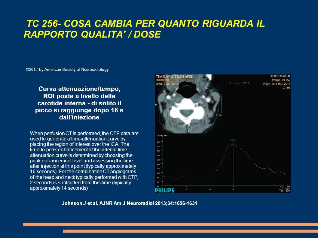TC 256- COSA CAMBIA PER QUANTO RIGUARDA IL RAPPORTO QUALITA / DOSE ©2013 by American Society of Neuroradiology Curva attenuazione/tempo, ROI posta a livello della carotide interna - di solito il picco si raggiunge dopo 16 s dall iniezione Johnson J et al.