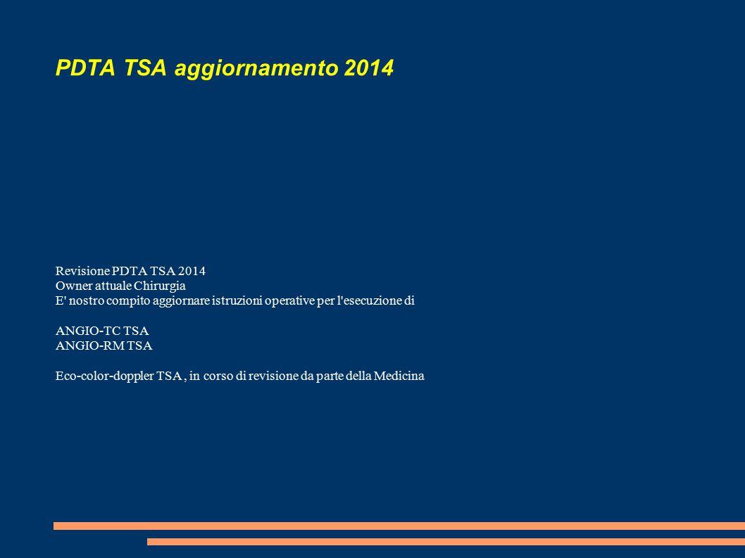 PDTA TSA aggiornamento 2014 Revisione PDTA TSA 2014 Owner attuale Chirurgia E nostro compito aggiornare istruzioni operative per l esecuzione di ANGIO-TC TSA ANGIO-RM TSA Eco-color-doppler TSA, in corso di revisione da parte della Medicina