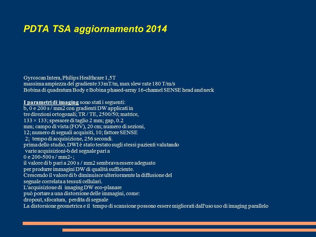 PDTA TSA aggiornamento 2014 Gyroscan Intera, Philips Healthcare 1,5T massima ampiezza del gradiente 33mT/m, max slew rate 180 T/m/s Bobina di quadratura Body e Bobina phased-array 16-channel SENSE head and neck I parametri di imaging sono stati i seguenti: b, 0 e 200 s / mm2 con gradienti DW applicati in tre direzioni ortogonali; TR / TE, 2500/50; matrice, 133 × 133; spessore di taglio 2 mm; gap, 0.2 mm; campo di vista (FOV), 20 cm; numero di sezioni, 12; numero di segnali acquisiti, 10; fattore SENSE 2; tempo di acquisizione, 256 secondi.
