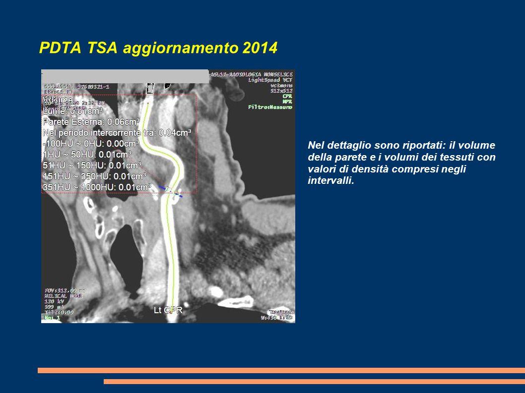PDTA TSA aggiornamento 2014 Nel dettaglio sono riportati: il volume della parete e i volumi dei tessuti con valori di densità compresi negli intervalli.