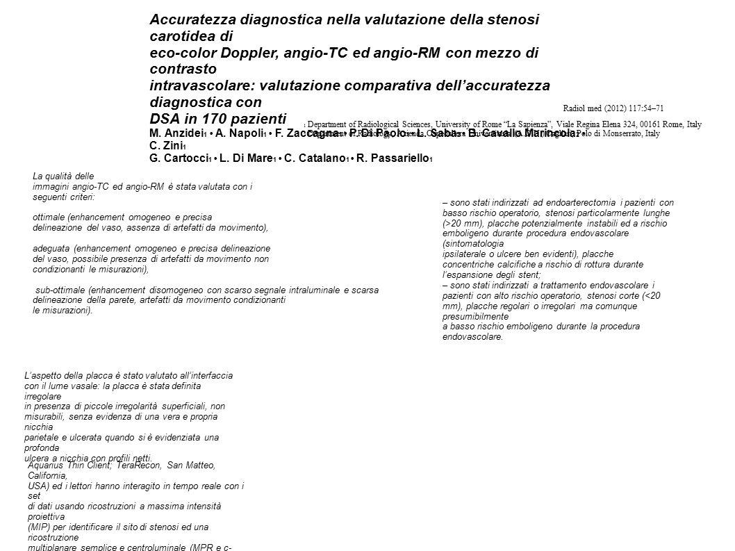 La qualità delle immagini angio-TC ed angio-RM è stata valutata con i seguenti criteri: ottimale (enhancement omogeneo e precisa delineazione del vaso, assenza di artefatti da movimento), adeguata (enhancement omogeneo e precisa delineazione del vaso, possibile presenza di artefatti da movimento non condizionanti le misurazioni), sub-ottimale (enhancement disomogeneo con scarso segnale intraluminale e scarsa delineazione della parete, artefatti da movimento condizionanti le misurazioni).