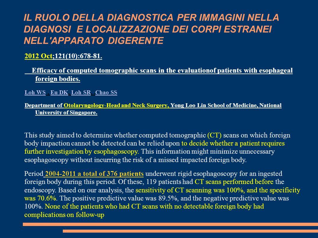 IL RUOLO DELLA DIAGNOSTICA PER IMMAGINI NELLA DIAGNOSI E LOCALIZZAZIONE DEI CORPI ESTRANEI NELL APPARATO DIGERENTE 2012 Oct;121(10):678-81.