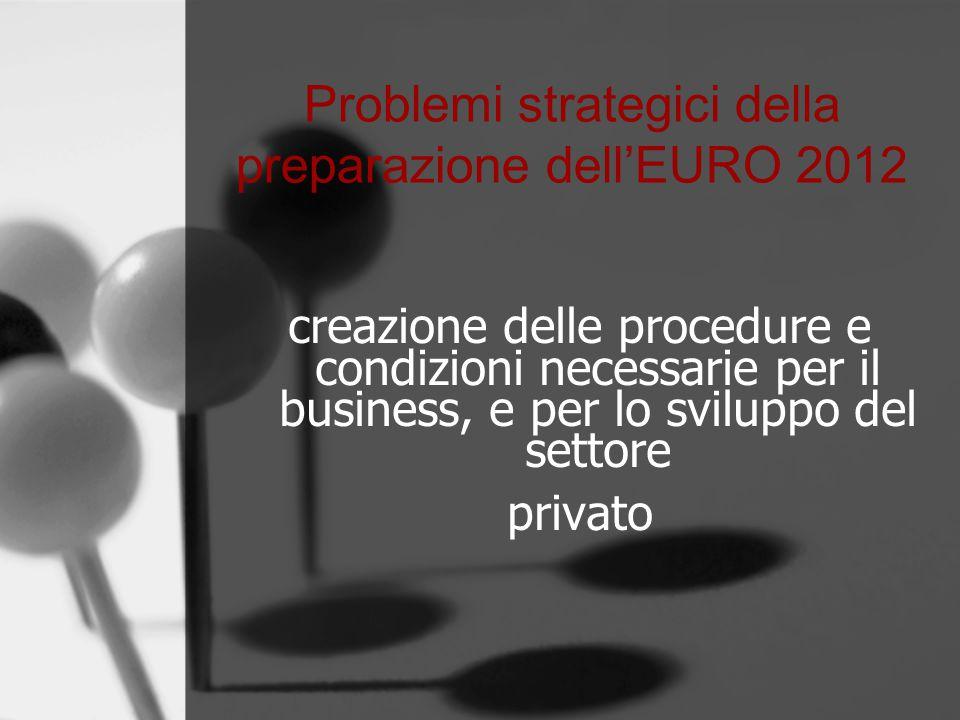 Problemi strategici della preparazione dell'EURO 2012 creazione delle procedure e condizioni necessarie per il business, e per lo sviluppo del settore privato