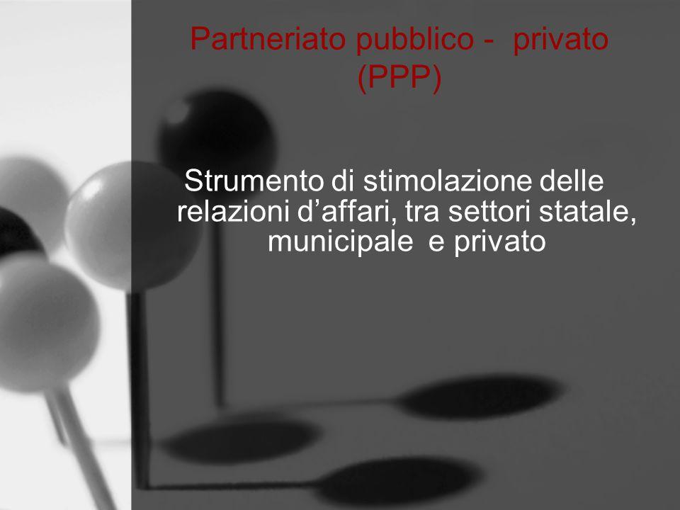 Partneriato pubblico - privato (PPP) Strumento di stimolazione delle relazioni d'affari, tra settori statale, municipale e privato