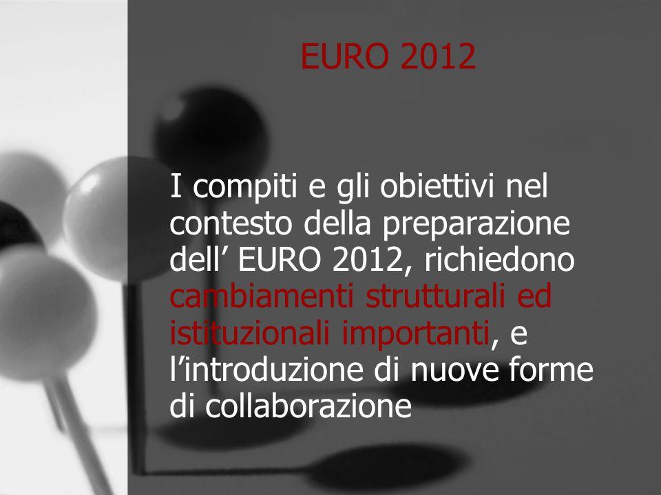 EURO 2012 I compiti e gli obiettivi nel contesto della preparazione dell' EURO 2012, richiedono cambiamenti strutturali ed istituzionali importanti, e l'introduzione di nuove forme di collaborazione