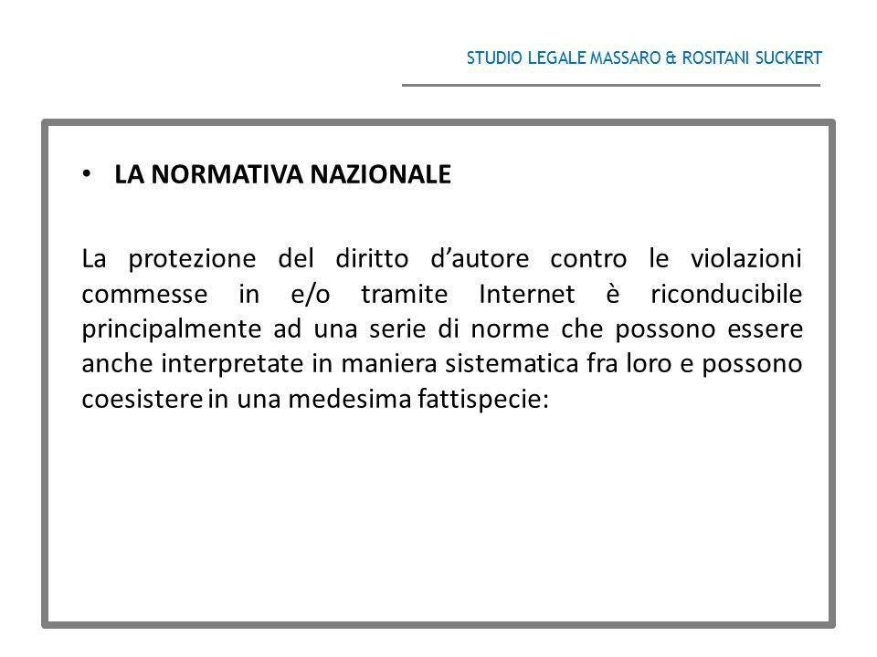 STUDIO LEGALE MASSARO & ROSITANI SUCKERT ______________________________________ LA NORMATIVA NAZIONALE La protezione del diritto d'autore contro le vi